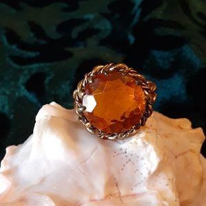 Jewelry - Vintage Topaz Glass Adjustable Ring